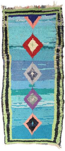 Noué à la main. Origine: Morocco Tapis Berber Moroccan - Boucherouite 127X290 Tapis Couloir Bleu Turquoise/Gris Clair ( Maroc)