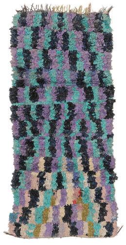 Noué à la main. Origine: Morocco Tapis Fait Main Berber Moroccan - Boucherouite 100X230 Tapis Couloir Bleu Foncé/Violet ( Maroc)