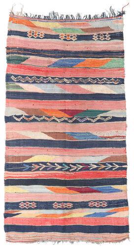 Noué à la main. Origine: Morocco Tapis Berber Moroccan - Boucherouite 158X309 Tapis Couloir Rose Clair/Bleu Foncé ( Maroc)