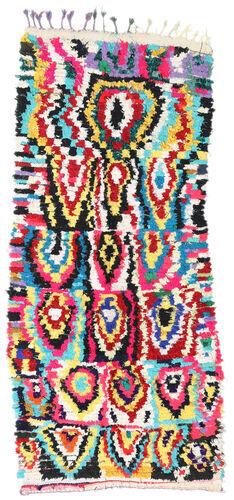 Noué à la main. Origine: Morocco Tapis Berber Moroccan - Boucherouite 132X298 Tapis Couloir Gris Foncé/Beige ( Maroc)