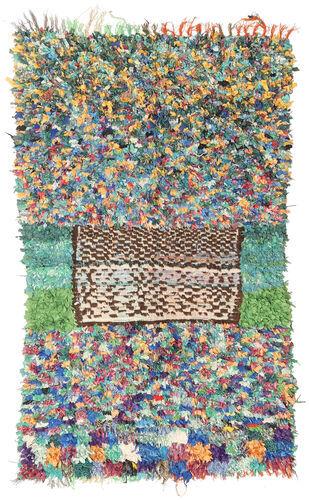 Noué à la main. Origine: Morocco Tapis Fait Main Berber Moroccan - Boucherouite 128X220 Gris Clair/Beige Foncé ( Maroc)