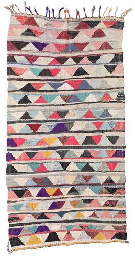 Noué à la main. Origine: Morocco Tapis Fait Main Berber Moroccan - Boucherouite 154X301 Tapis Couloir Gris Clair/Gris Foncé ( Maroc)
