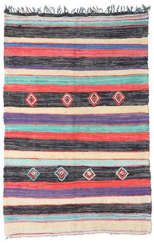 Noué à la main. Origine: Morocco Tapis Fait Main Berber Moroccan - Boucherouite 170X261 Gris Foncé/Beige ( Maroc)