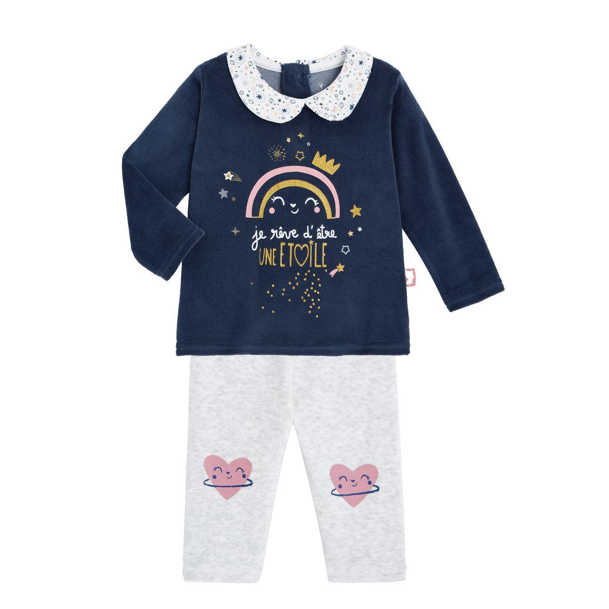 Petit Béguin Pyjama bébé velours 2 pièces Rêve Etoilé - Taille - 24 mois