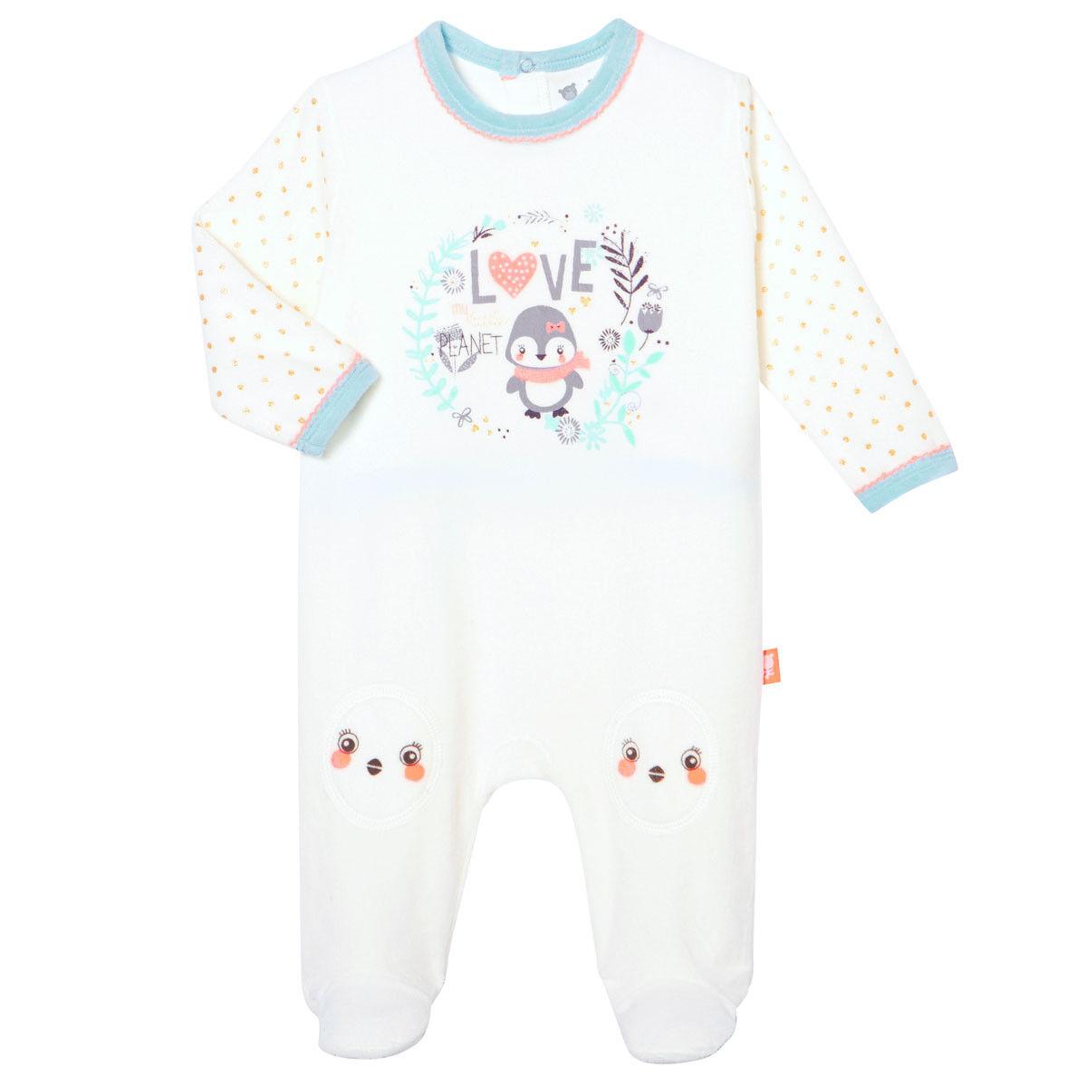 Petit Béguin Pyjama bébé velours Love Planet - Taille - 36 mois