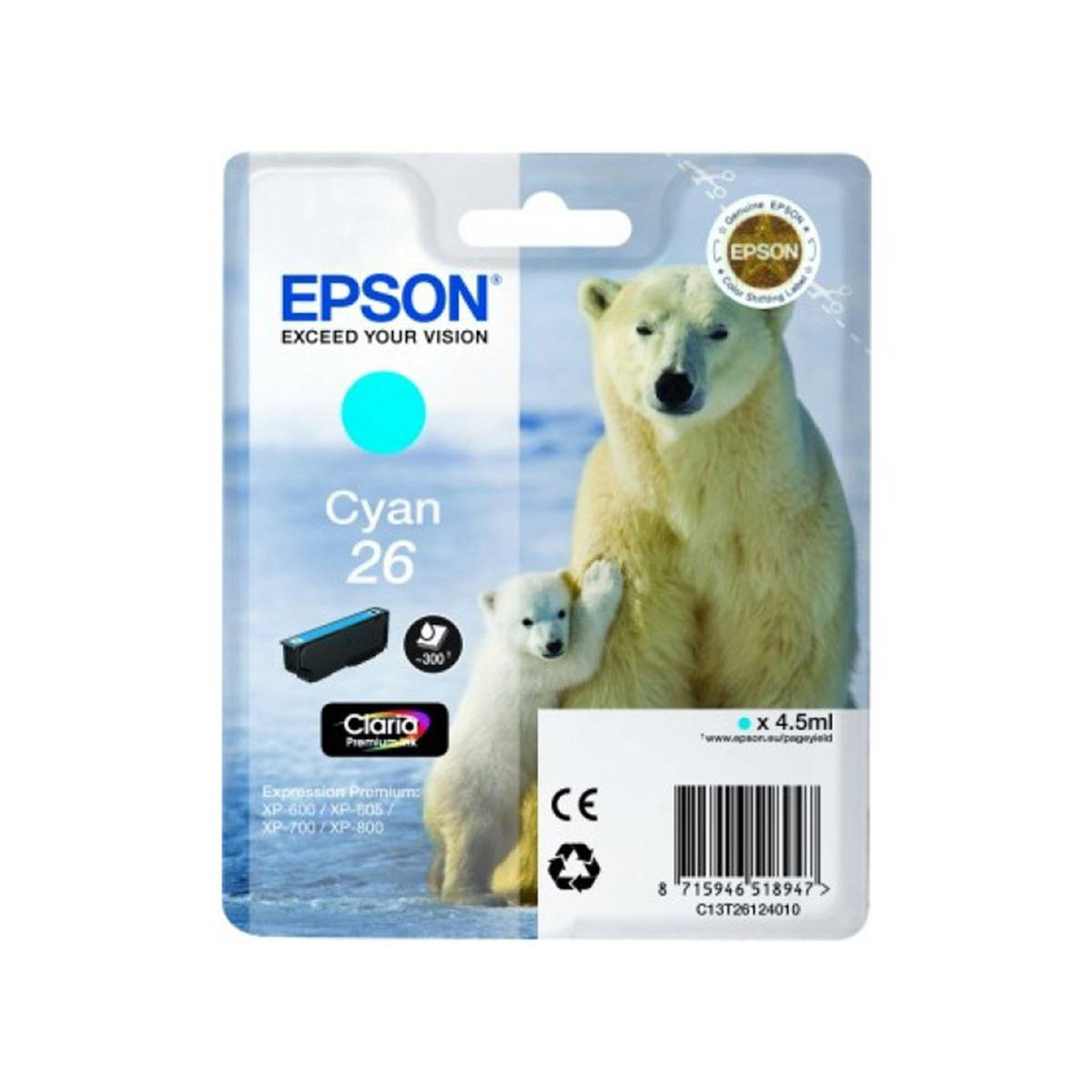 Cartouche Imprimante Epson «ours Polaire» - N°26 Cyan