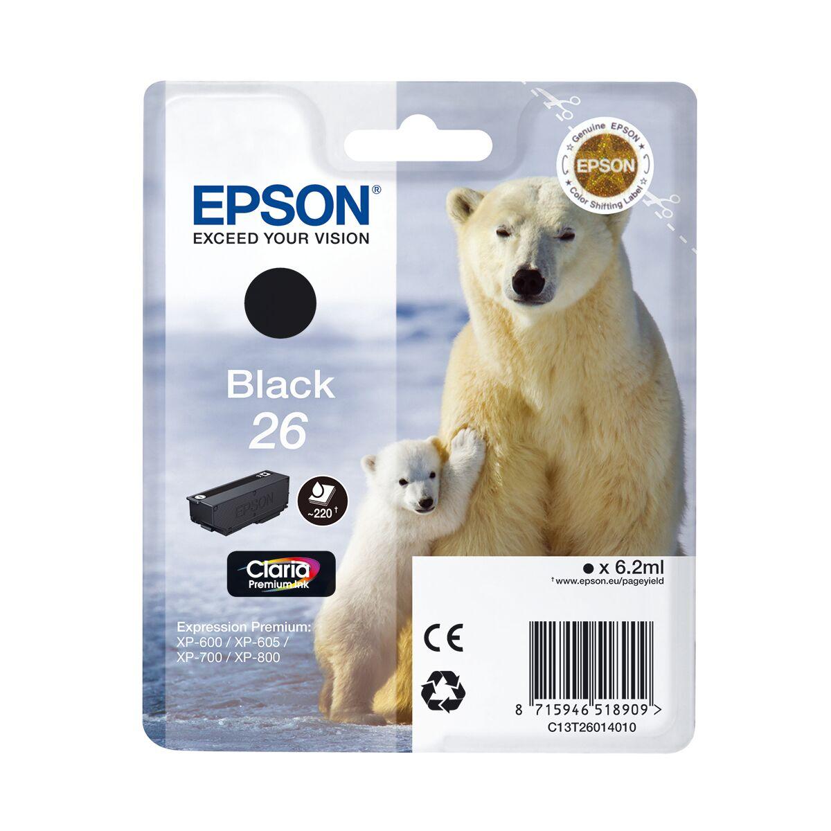 Cartouche Epson «ours Polaire» - Encre Claria - Noir 26