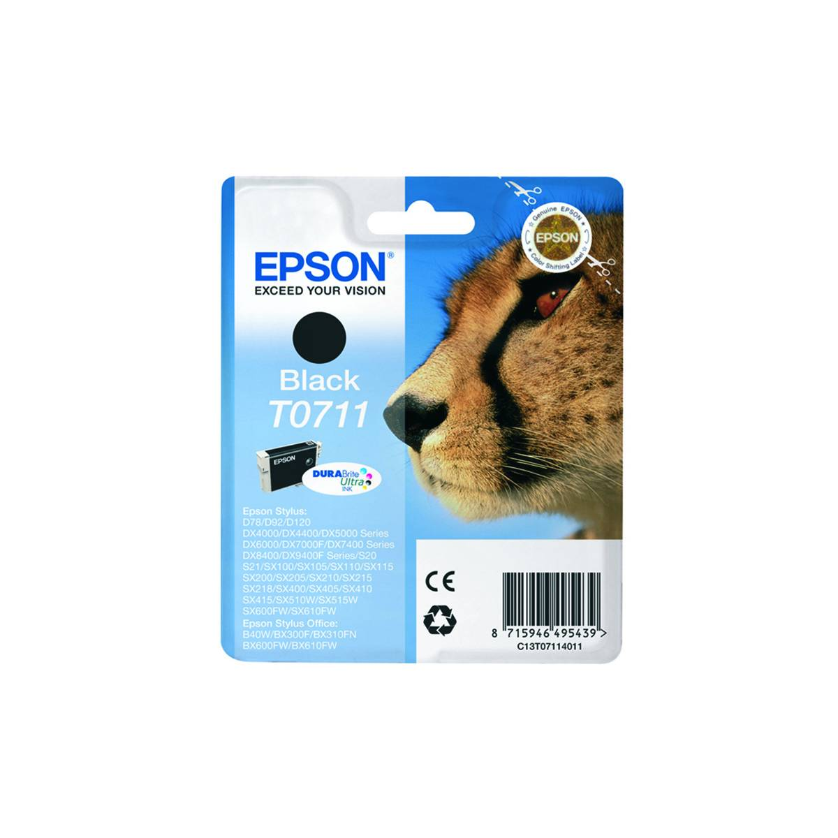 Cartouche Imprimante Epson «guépard» - T0711 - Noir