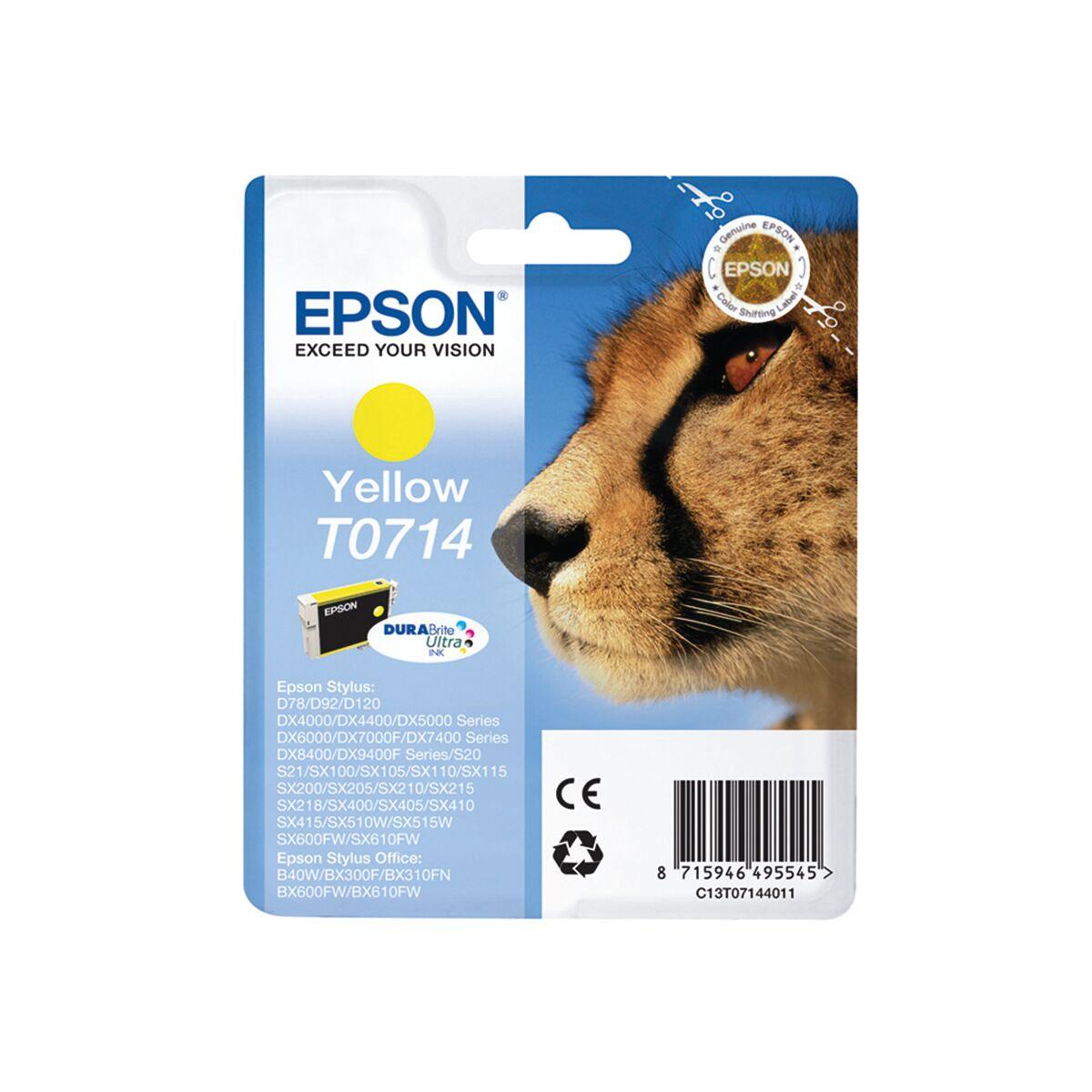 Cartouche Imprimante Epson «guépard» - T0714 - Jaune