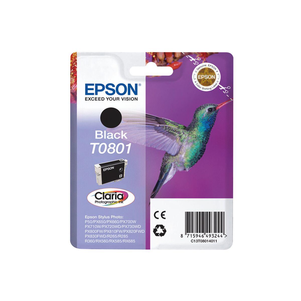 Cartouche Imprimante Epson «colibri» - T0801 Noir