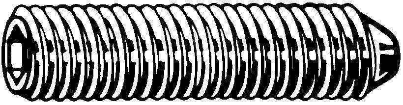 Fabory Vis sans tête à six pans creux à bout tronconique UNC ASME B18.3 Alliage d'acier ASTM F912 Brut #10-24X1/2