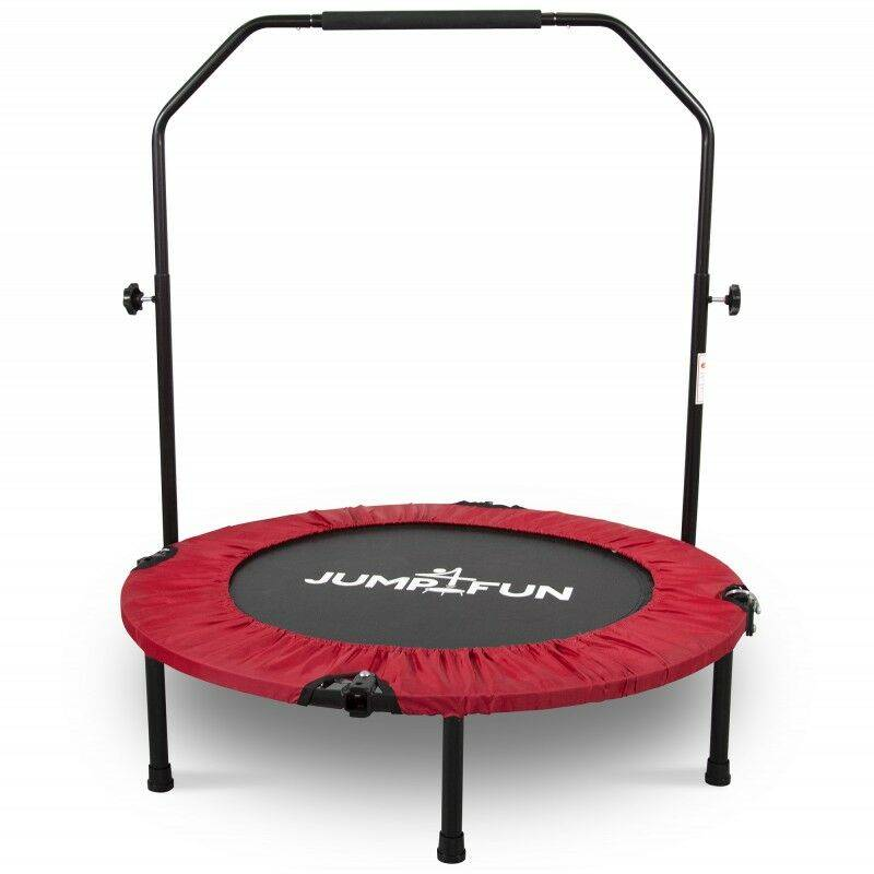JUMP4FUN Mini Trampoline Fitness Pliable Double-Bar - Ø92cm - Rouge - Jump4fun