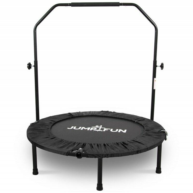JUMP4FUN Mini Trampoline Fitness Pliable Double-Bar - Ø92cm - Noir - Jump4fun