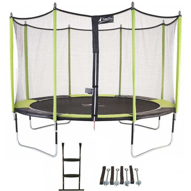 Kangui - Trampoline de jardin 365 cm + filet de sécurité + échelle +