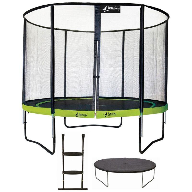 KANGUI Trampoline de jardin rond 305 cm + filet de sécurité + échelle + bâche
