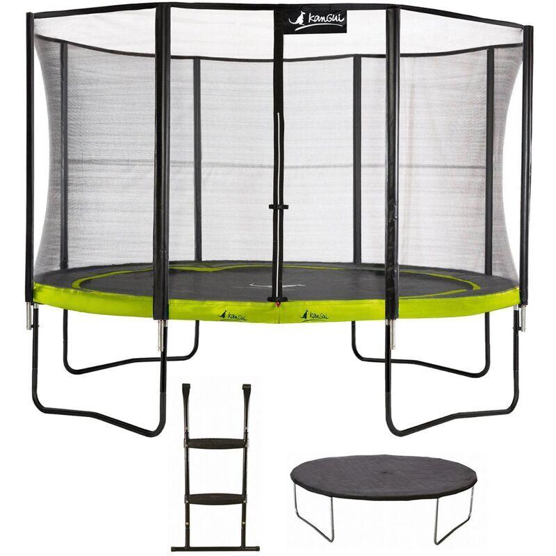 KANGUI Trampoline de jardin rond 430 cm + filet de sécurité + échelle + bâche