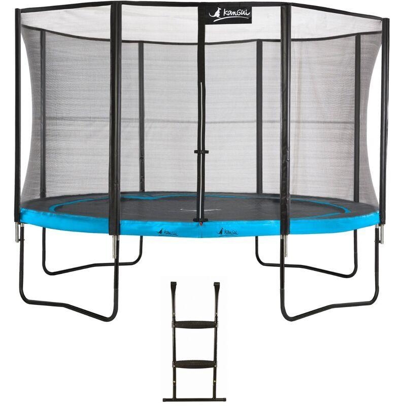 KANGUI Trampoline de jardin 365 cm + filet de sécurité + échelle PUNCHI Bleu