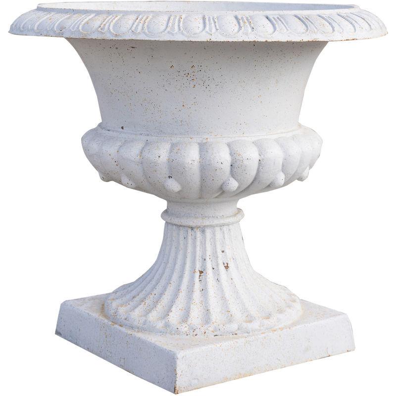 Biscottini - Vase en fonte avec finition blanche antique