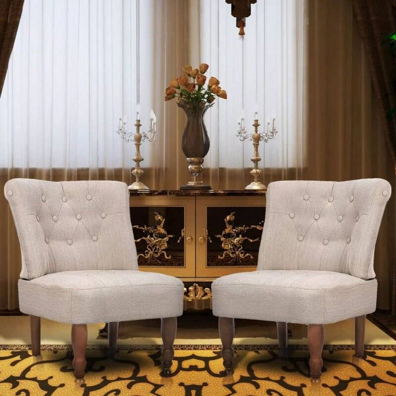 ASUPERMALL Chaises en style francais 2 pcs Creme Tissu