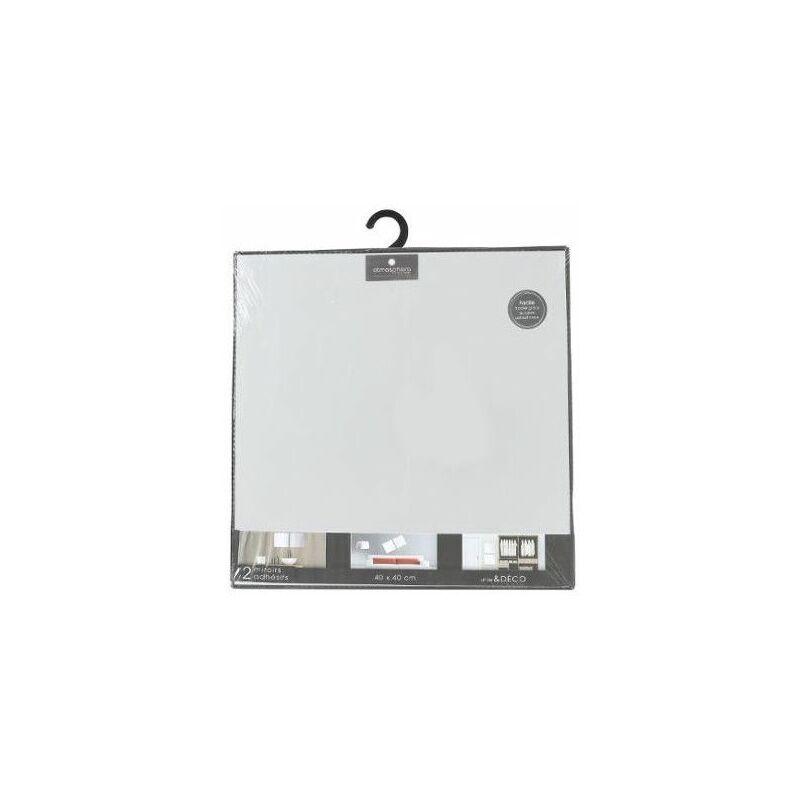 AC-DÉCO Lot de 2 miroirs carrés adhésifs - 40 x 40 cm - Verre