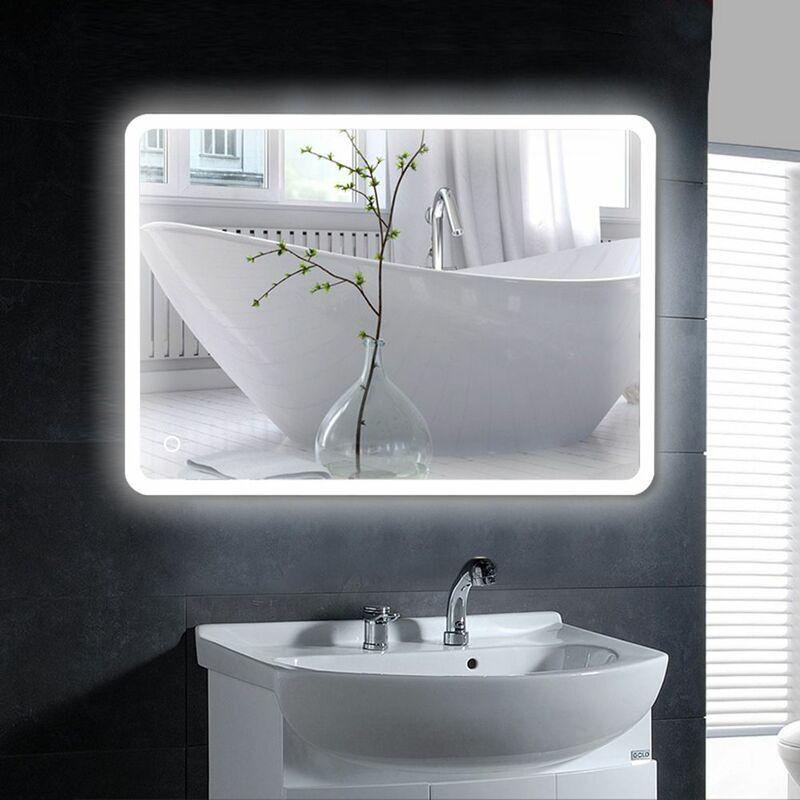 Oobest - Miroir mural de salle de bain, interrupteur tactile, anti-buée