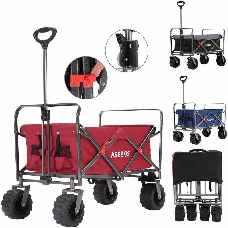 AREBOS Chariot Utilitaire Extérieur Chariot Poussette Pliable Rouge - Rouge
