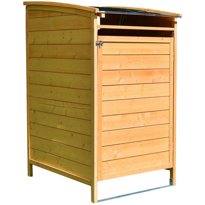 MELKO Habillage de poubelle boîte simple 120 litres de bois 73 x 85 x 127 cm,