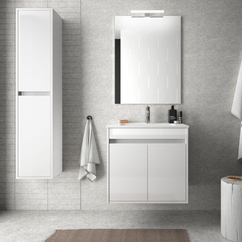 BAGNO Meuble de salle de bain suspendu 60 cm Blanc laque avec deux portes