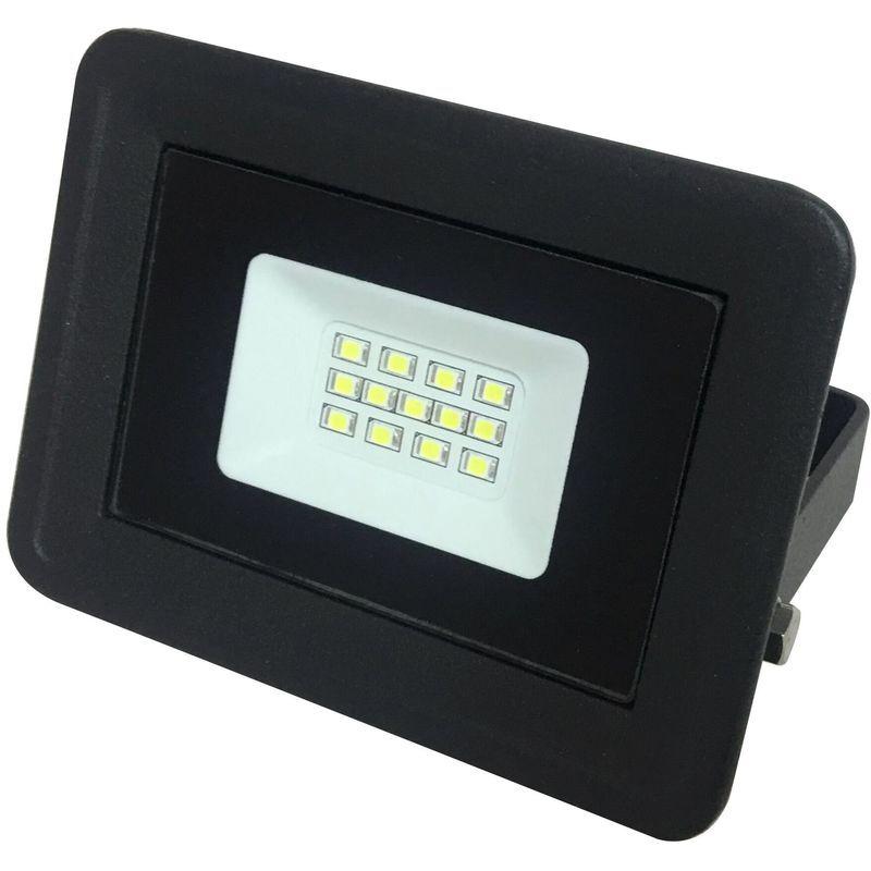 LAMPESECOENERGIE LED Projecteur Lampe 10W Noir 6000K IP65 Extra Plat