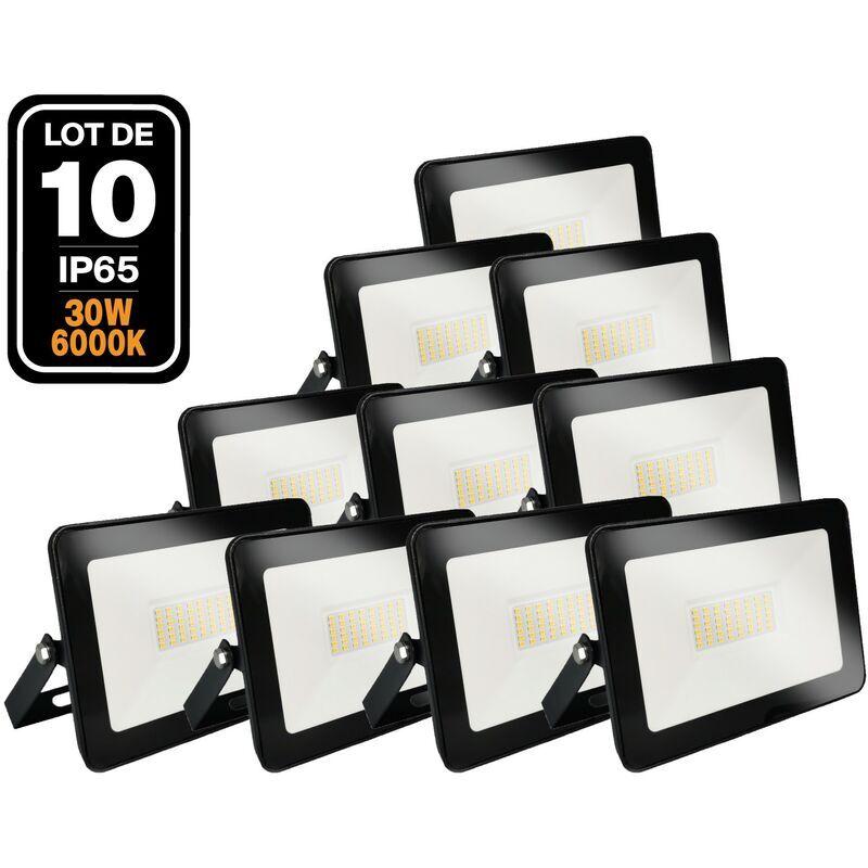 EUROPALAMP Lot de 10 Projecteurs LED 30W Ipad Blanc froid 6000K Haute Luminosité
