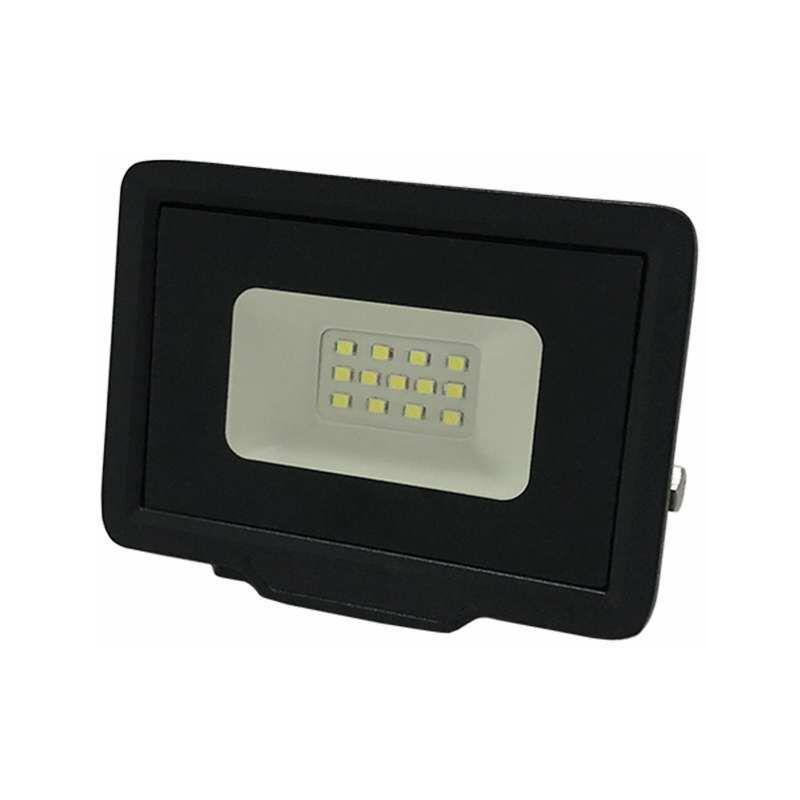 OPTONICA Projecteur LED 10W (50W) Noir Étanche IP65 800lm - Blanc du Jour 6000K