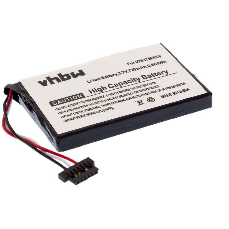 VHBW Batterie LI-ION 720mAh pour NAVMAN Spirit 300, etc. Remplace 07917TSIP