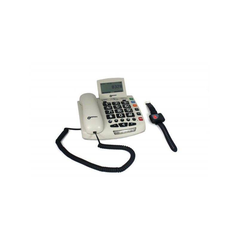 GEEMARC Téléphone filaire Serenities et un Bracelet SOS - Blanc - Geemarc