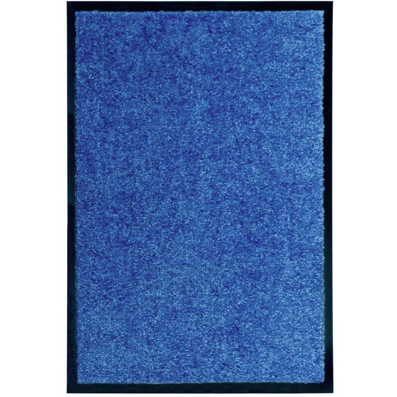 VIDAXL Paillasson lavable Bleu 40x60 cm