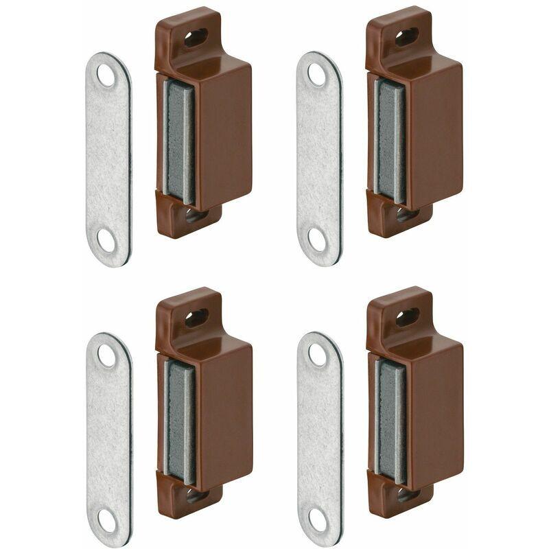 CYCLINGCOLORS 4x loqueteau magnétique rectangulaire marron loquet à aimant armoire