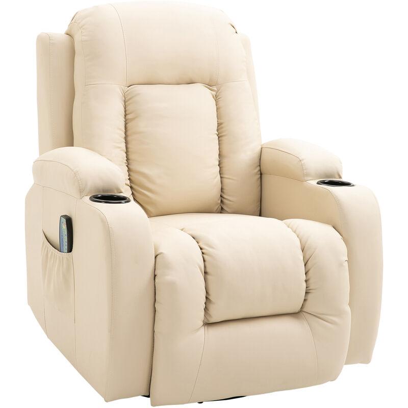HOMCOM Fauteuil de massage et relaxation électrique chauffant inclinable