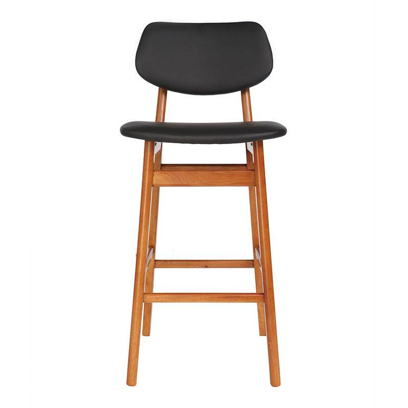 MILIBOO Chaise de bar design bois de noyer et noir 65 cm NORDECO
