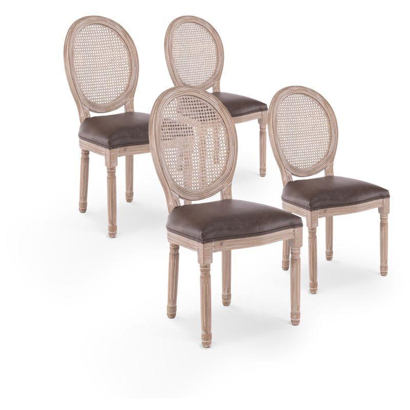 INTENSEDECO Lot de 4 chaises médaillon Louis XVI Cannage Rotin vintage - INTENSEDECO