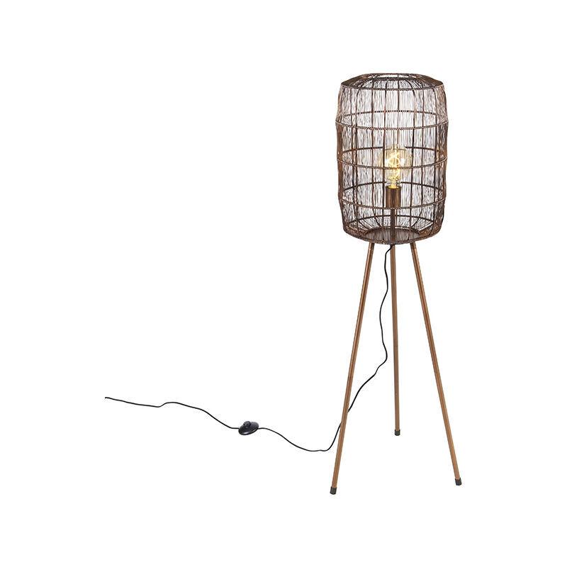 QAZQA Lampadaire trépied Moderne cuivre - Refaire Moderne Luminaire interieur