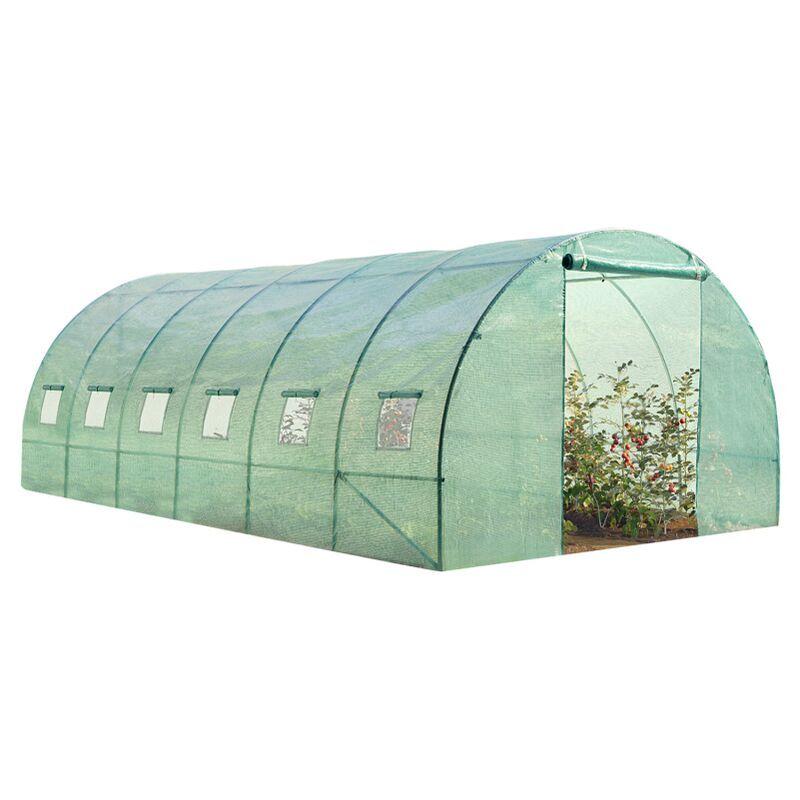 IDMARKET Serre tunnel de jardin 18m² verte gamme maraichère CRIMÉE 6x3M
