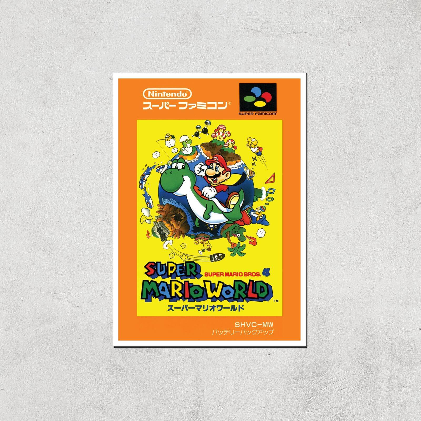 Nintendo Super Mario World Retro Cover Art Print - A4 - Print Only
