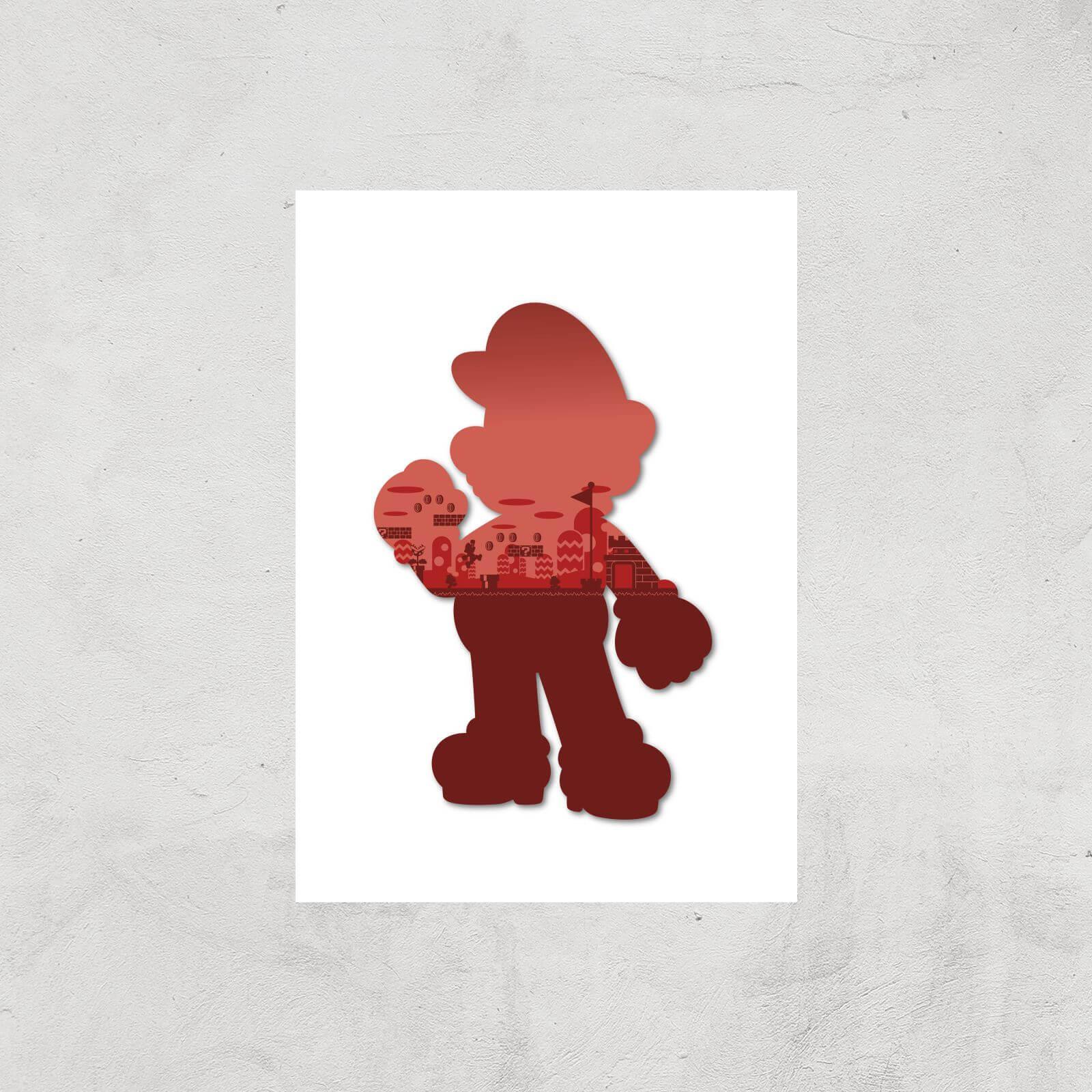 Nintendo Super Mario Silhouette Art Print - A4 - Print Only
