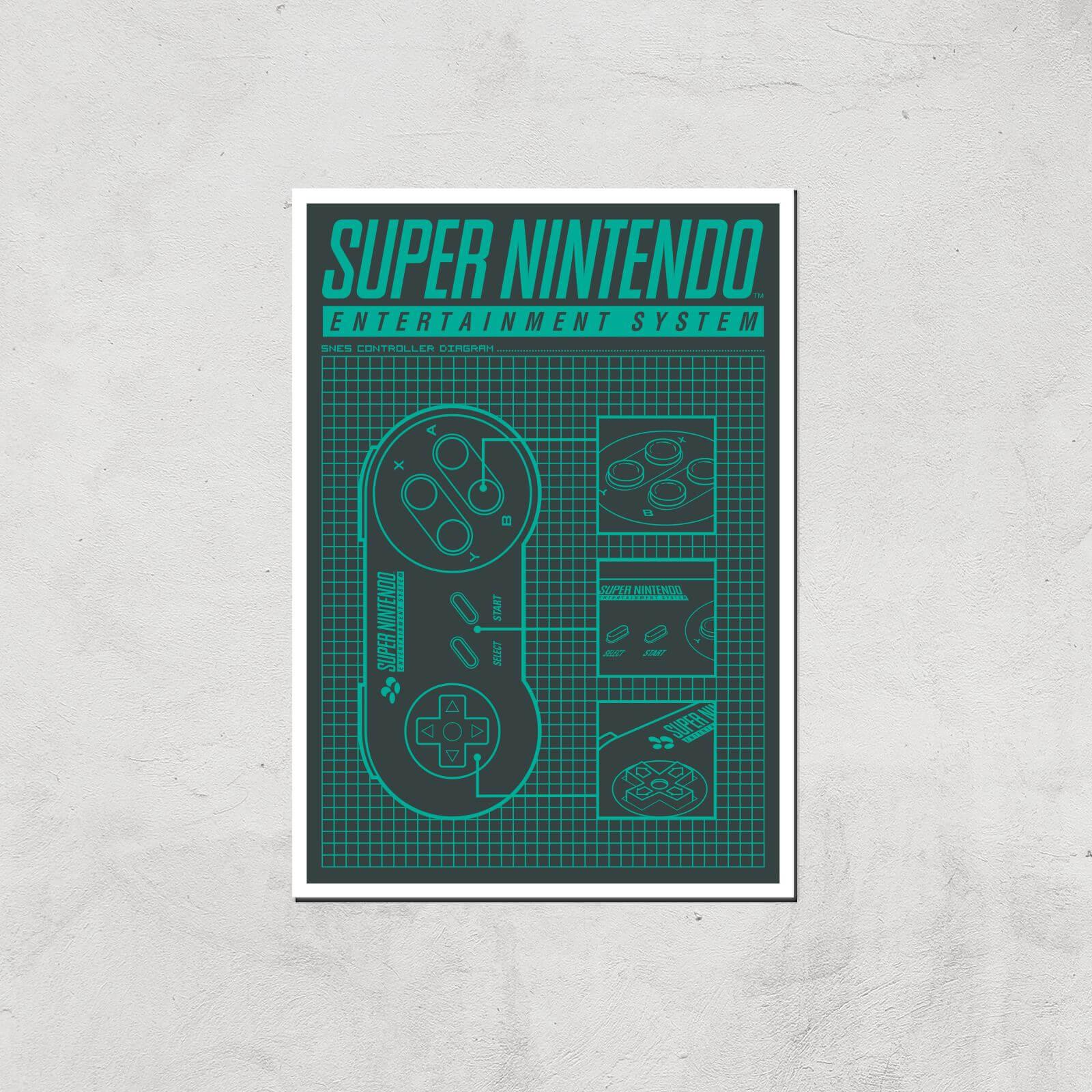 Nintendo SNES Controller Art Print - A4 - Print Only