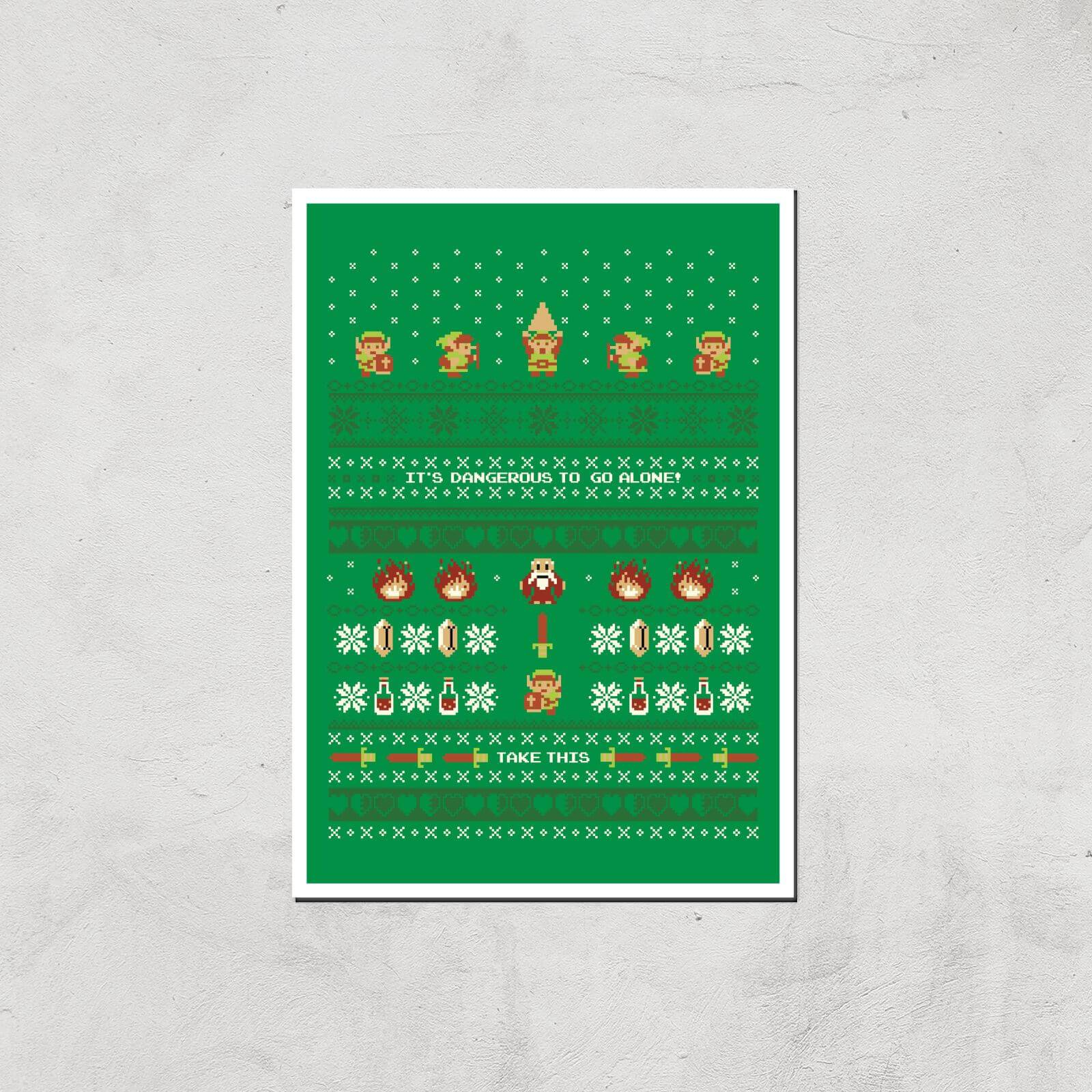 Nintendo It's Dangerous To Go Alone Art Print - A3 - Print Only