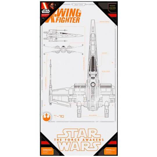 SD Toys Affiche en Verre Star Wars Épisode VII X - Wing Fighter (50 x 25cm)