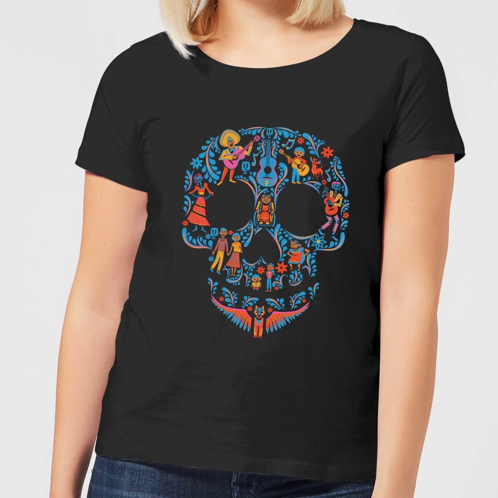 Pixar T-Shirt Femme Motif Tête de Mort Coco - Noir - XL - Noir
