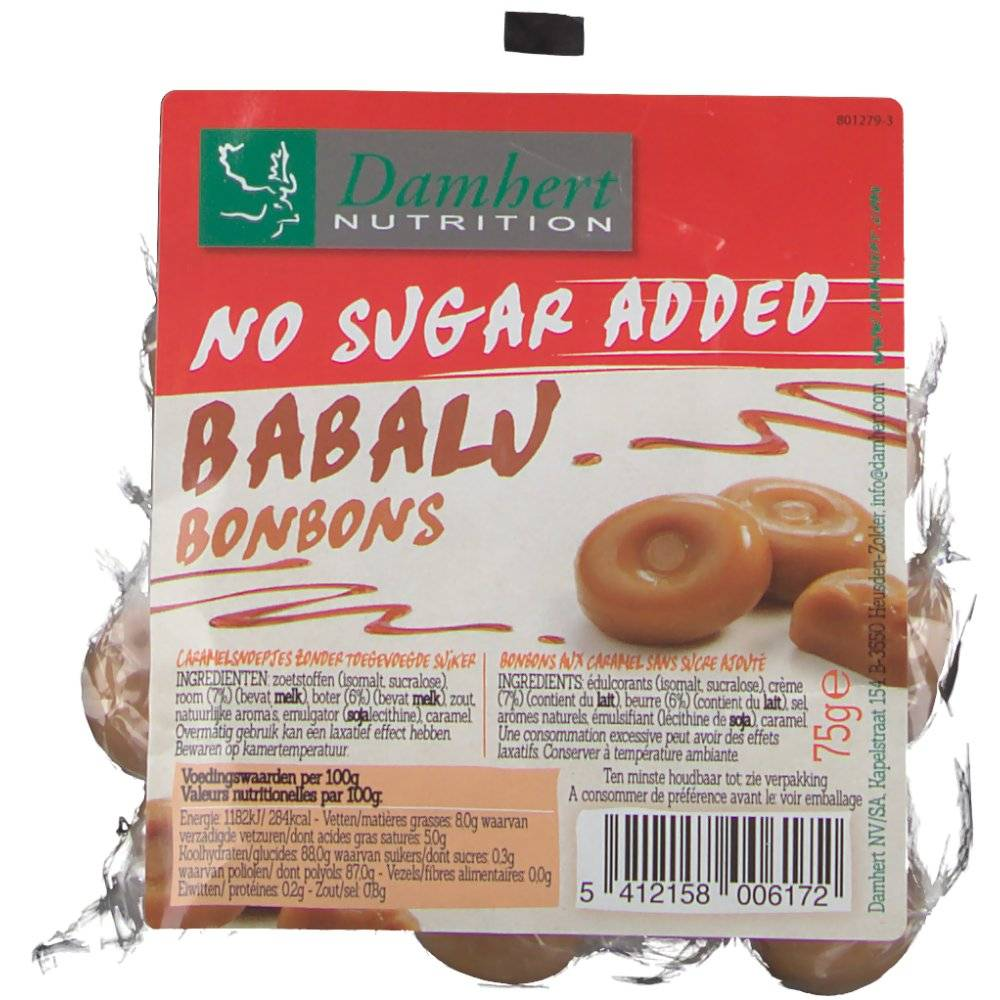 2Pharma OTC Damhert No Sugar Added Babalu caramel 75 g 5412158006172