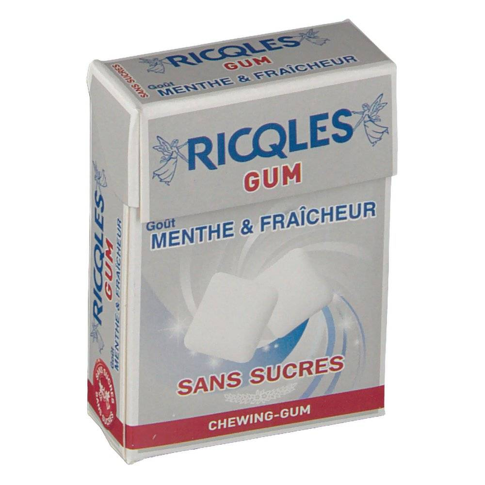 Ricqles gum gommes menthe blancheur sans sucre 24 g 3401542688867
