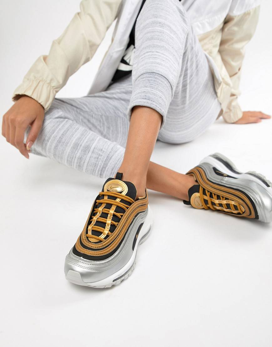 Nike - Air Max 97 - Baskets - Noir et métallisé doré taille: 38.5