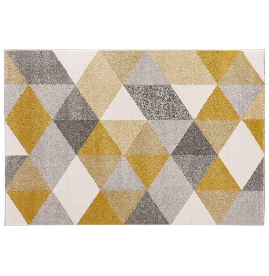 Alterego Tapis design 'GRAFIK' 160/230 cm avec motifs graphiques jaun